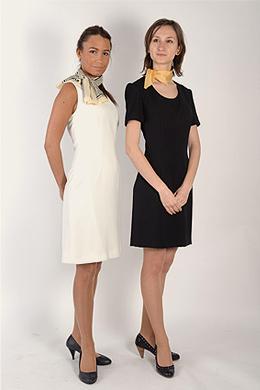 Robe blanche sans manche / robe noire « Kennedy » col rond (recommandées pour vos soirées, cocktails et vernissages).